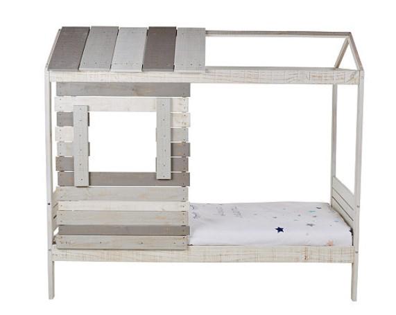 lit combin toni en bois massif blanchi 90x190 cm - Lit Cabane But