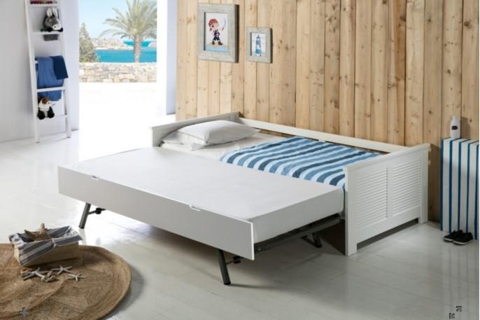 Lit gigogne 2x90x190 cm MAUI Blanc