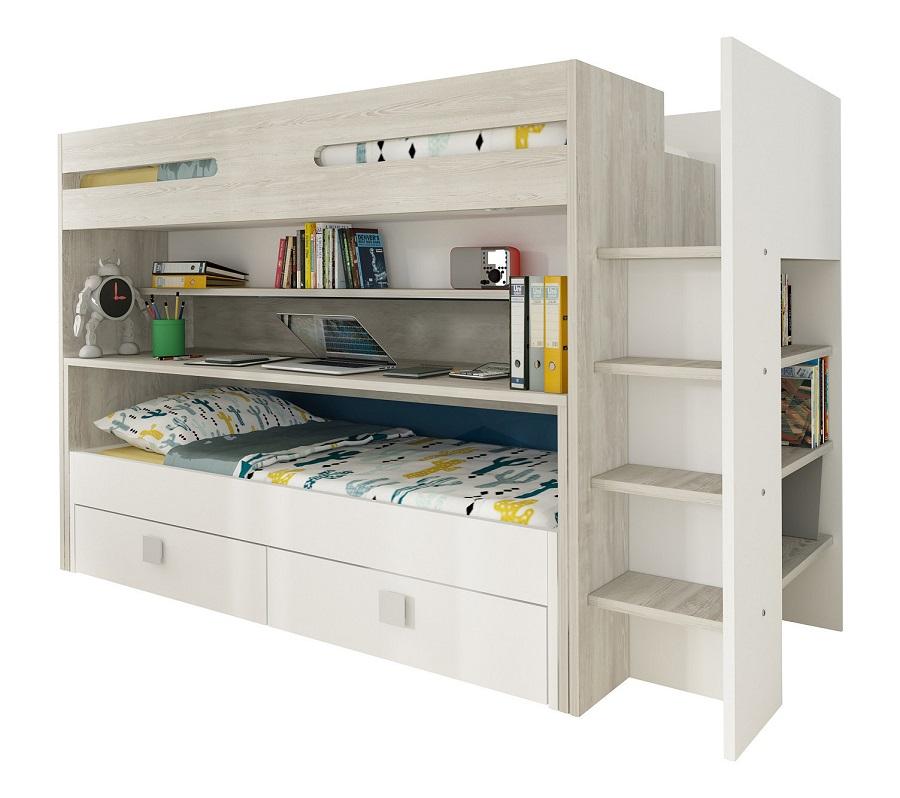 Lit superposé Multifonctions 2 lits + bureau +2 tiroirs JULES imitation chêne et blanc