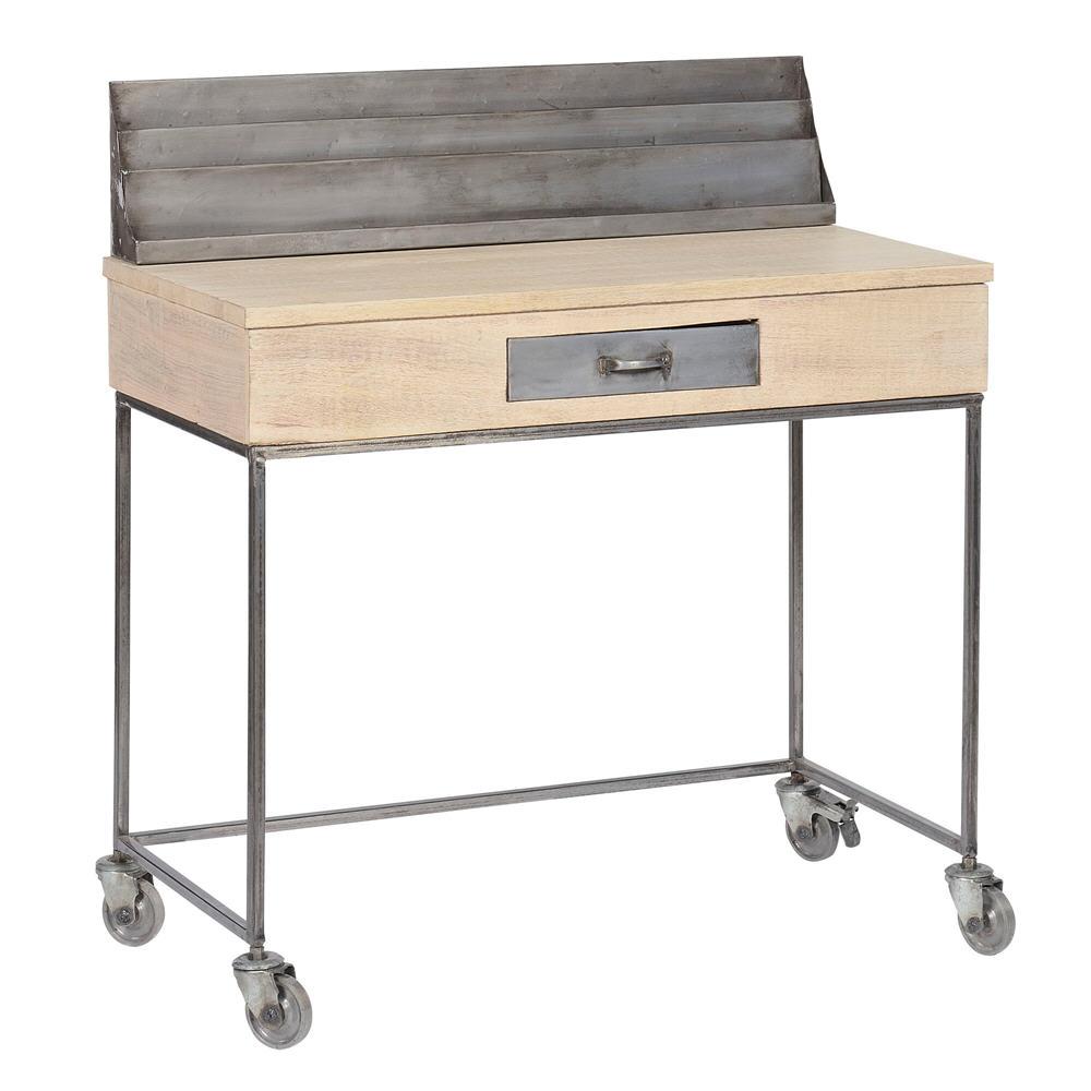 Bureau avec réhausse en bois et métal ROLL Jardin d\'Ulysse ...