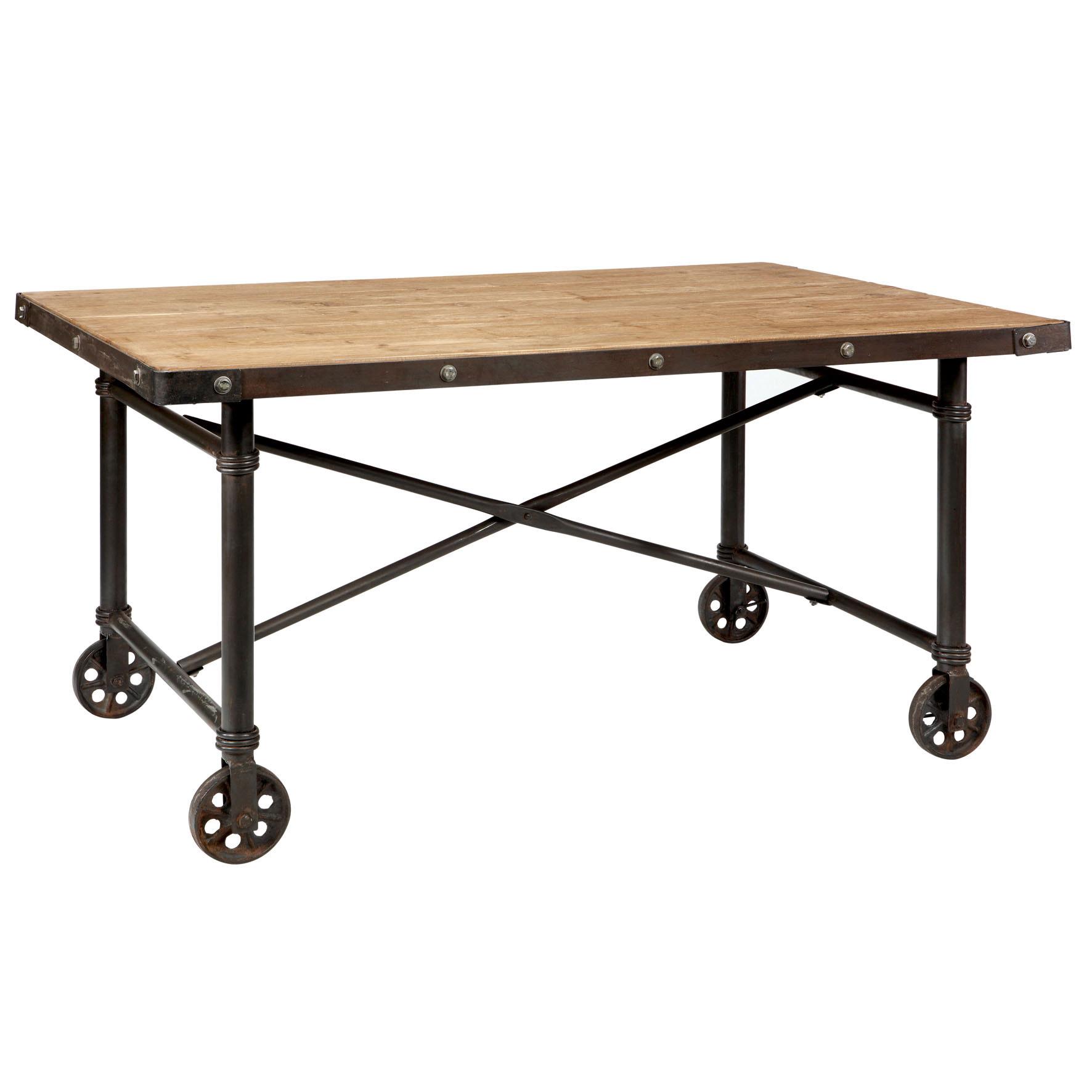 MOBILE Table manger roulettes en sur à Comptoir sapinmétal 3RqAjcS54L