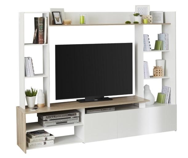 Meuble TV HELOW Blanc et imitation chêne