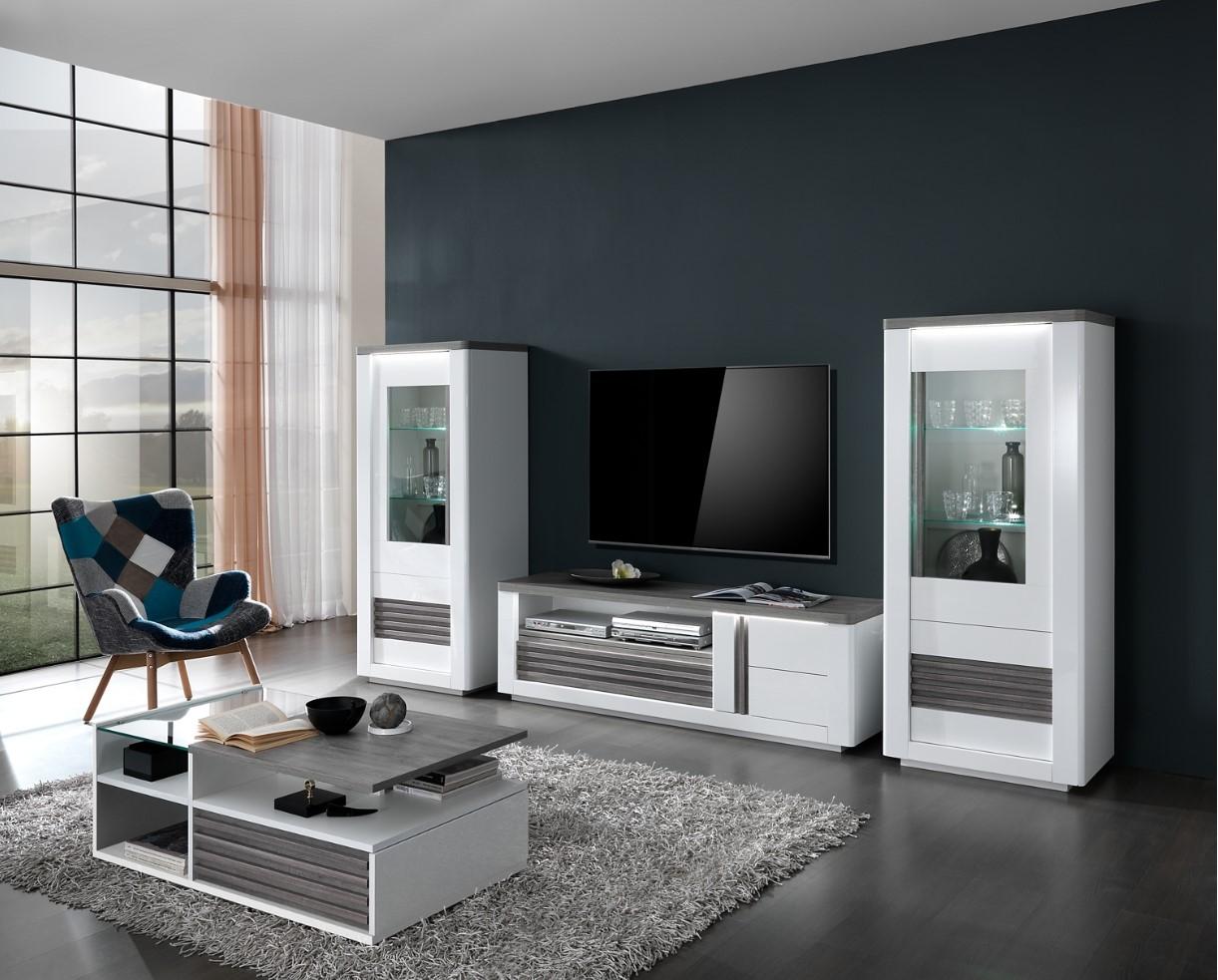 Meuble TV VERTIGO blanc/chêne gris