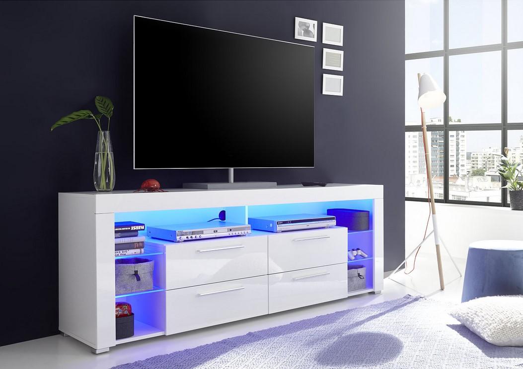 Meuble Tv Led Space Blanc Laque Pas Cher Meuble Tv But Iziva Com
