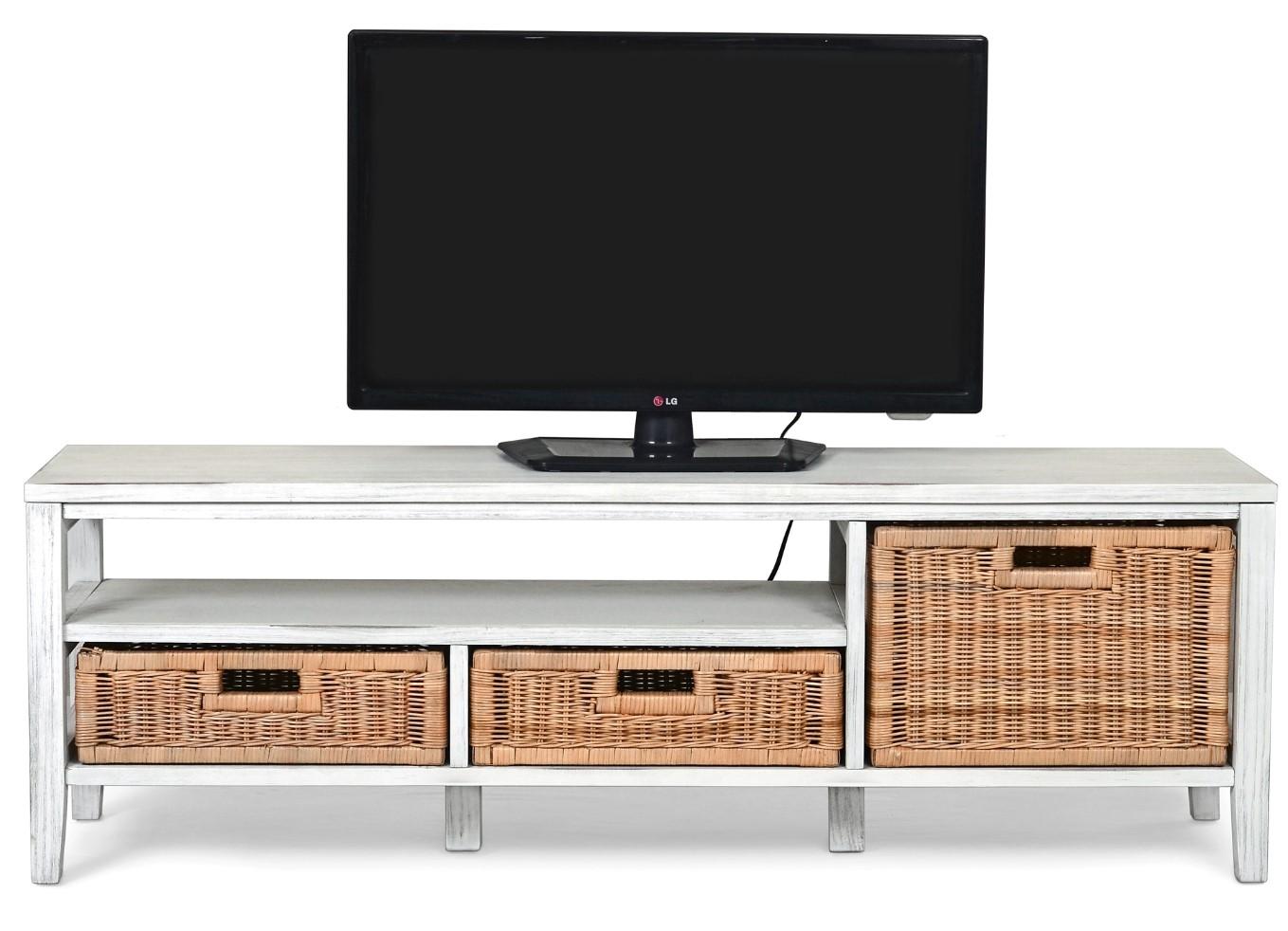 taille 40 dc3a7 a6084 Meuble TV MALACCA Blanc et rotin pas cher - Meuble TV BUT ...