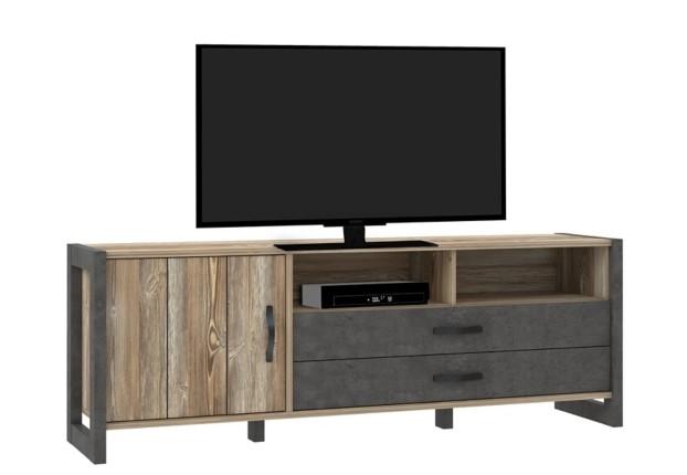 Meuble TV industriel NOTE Imitation pin épicéa et béton