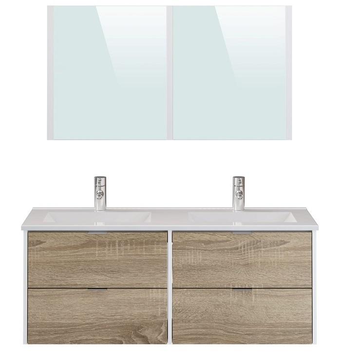 Meuble de salle de bain BERMUDES Blanc et chêne