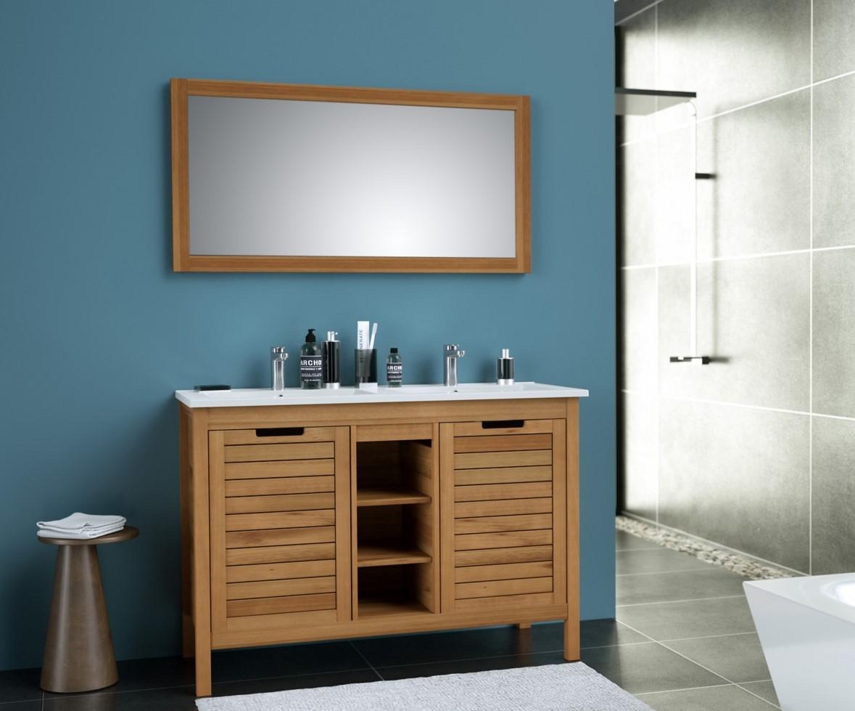 Meuble de salle de bain en eucalyptus BAHAMAS pas cher - Meuble De