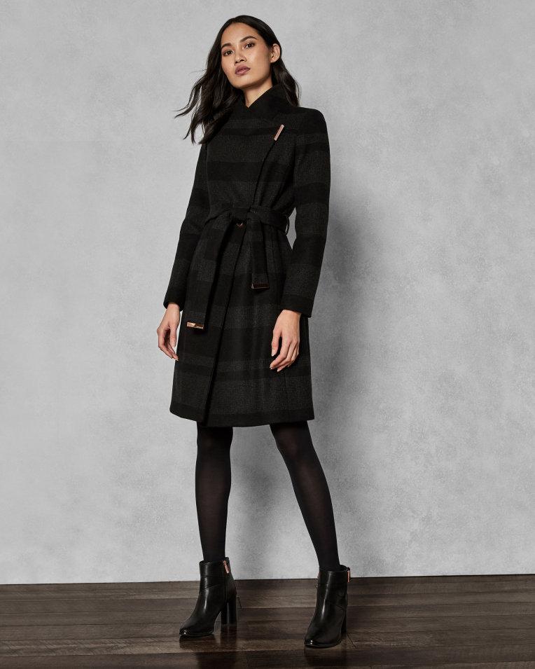 Ted Baker NARRLA Manteau style couverture mi-long à rayures Noir
