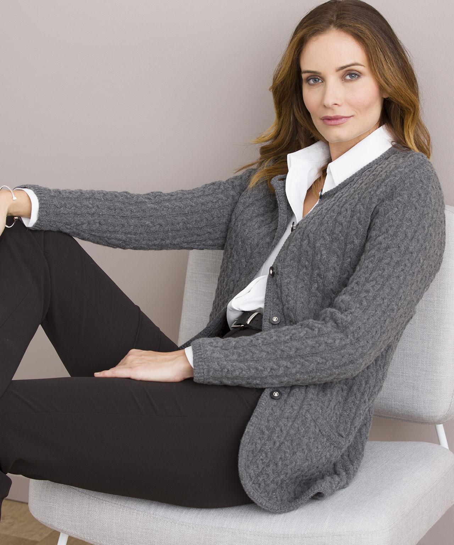 c8ef20d5d7ca3 Cardigan 80% laine d agneau Gris Chine Damart - Cardigan Femme ...
