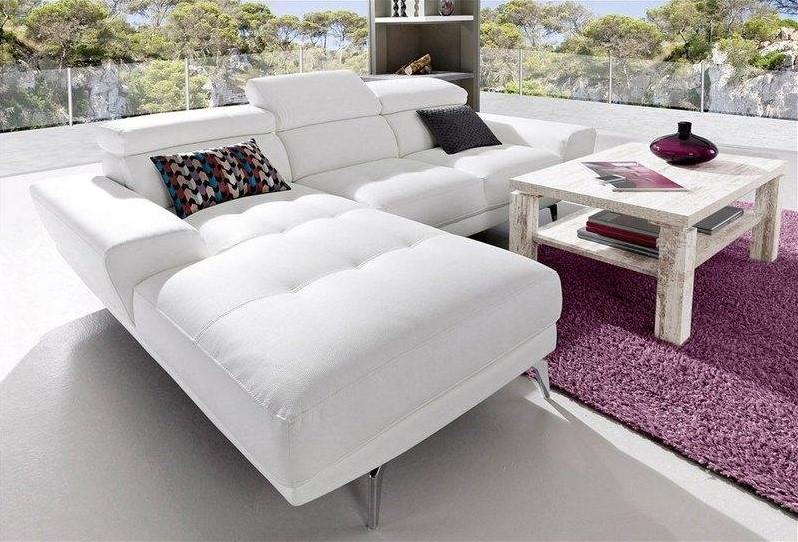 Canapé d'angle en revêtement synthétique qualité luxe, méridienne fixe à droite ou à gauche Blanc