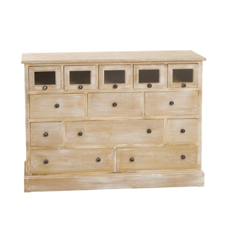 Buffet meuble de métier 13 tiroirs style campagne Naturel