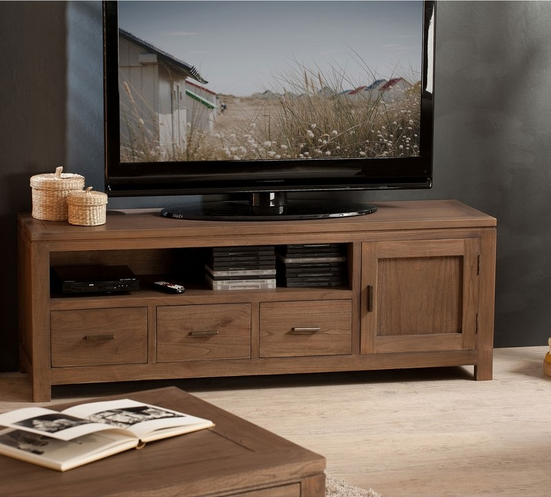 meuble banc tv kewan en acacia massif meuble tv 3 suisses. Black Bedroom Furniture Sets. Home Design Ideas