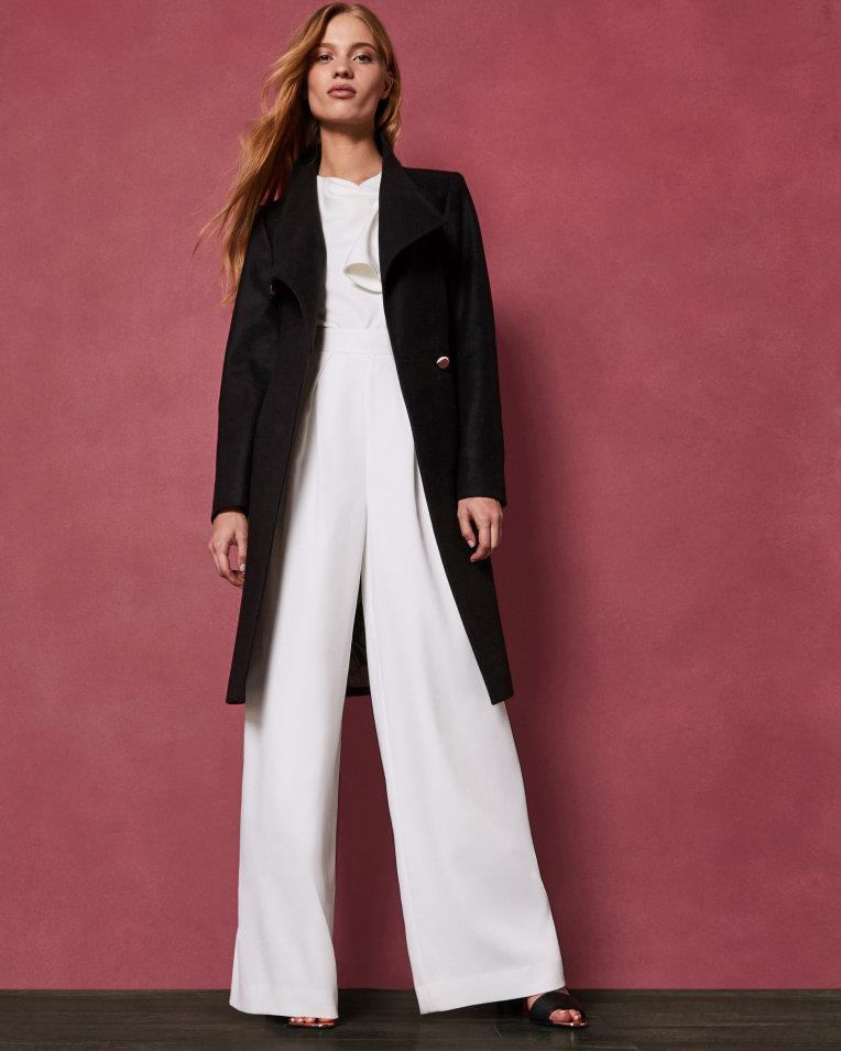 Ted Baker SANDRA Long manteau croisé en laine Noir