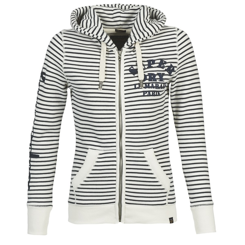 Superdry APPLIQUE ZIPHOOD Marine / Blanc