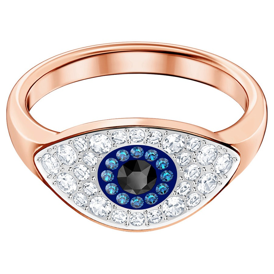 Bague Duo Evil Eye Swarovski multicolore plaqué or rose