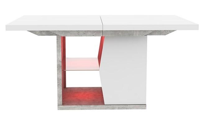 Table De Sejour Extensible Led Lumeo Blanc Brillant