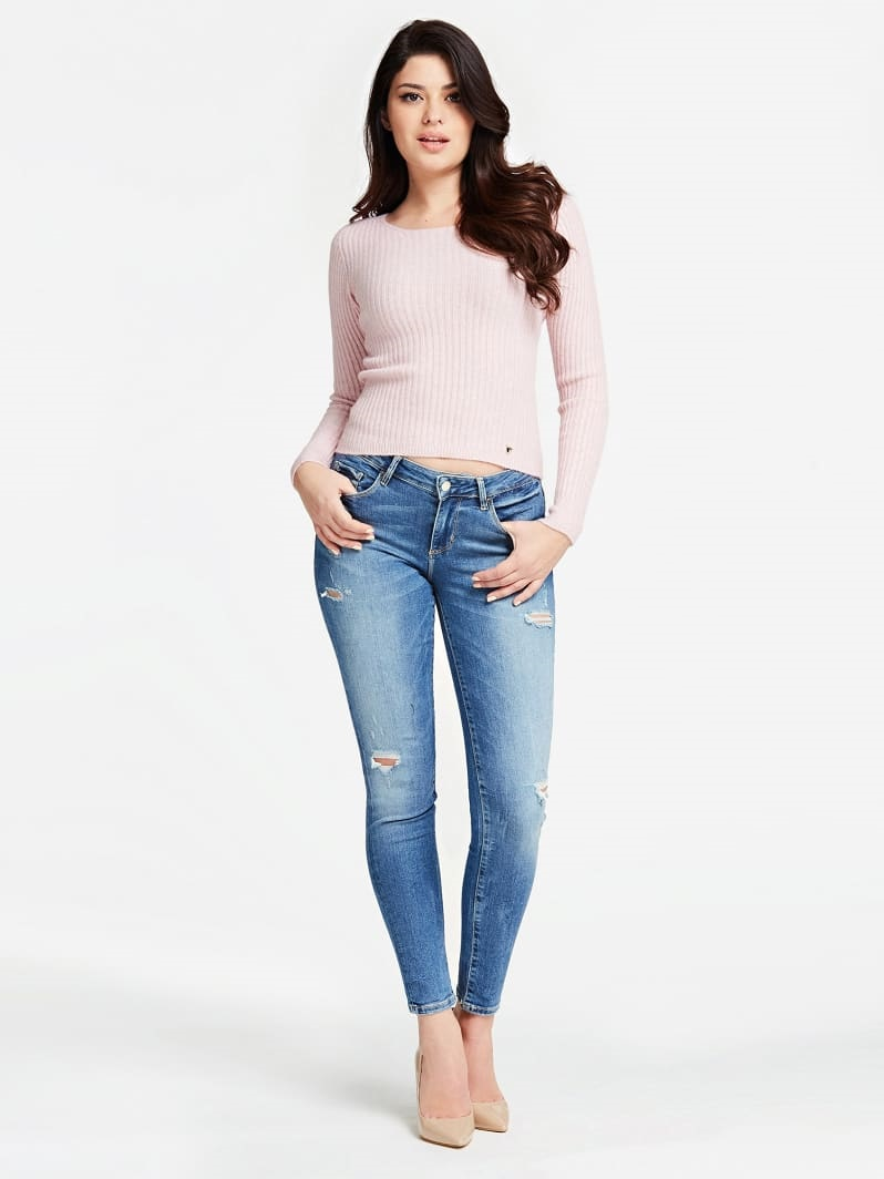 PANTALON EN DENIM COUPE SKINNY Guess Bleu Ciel