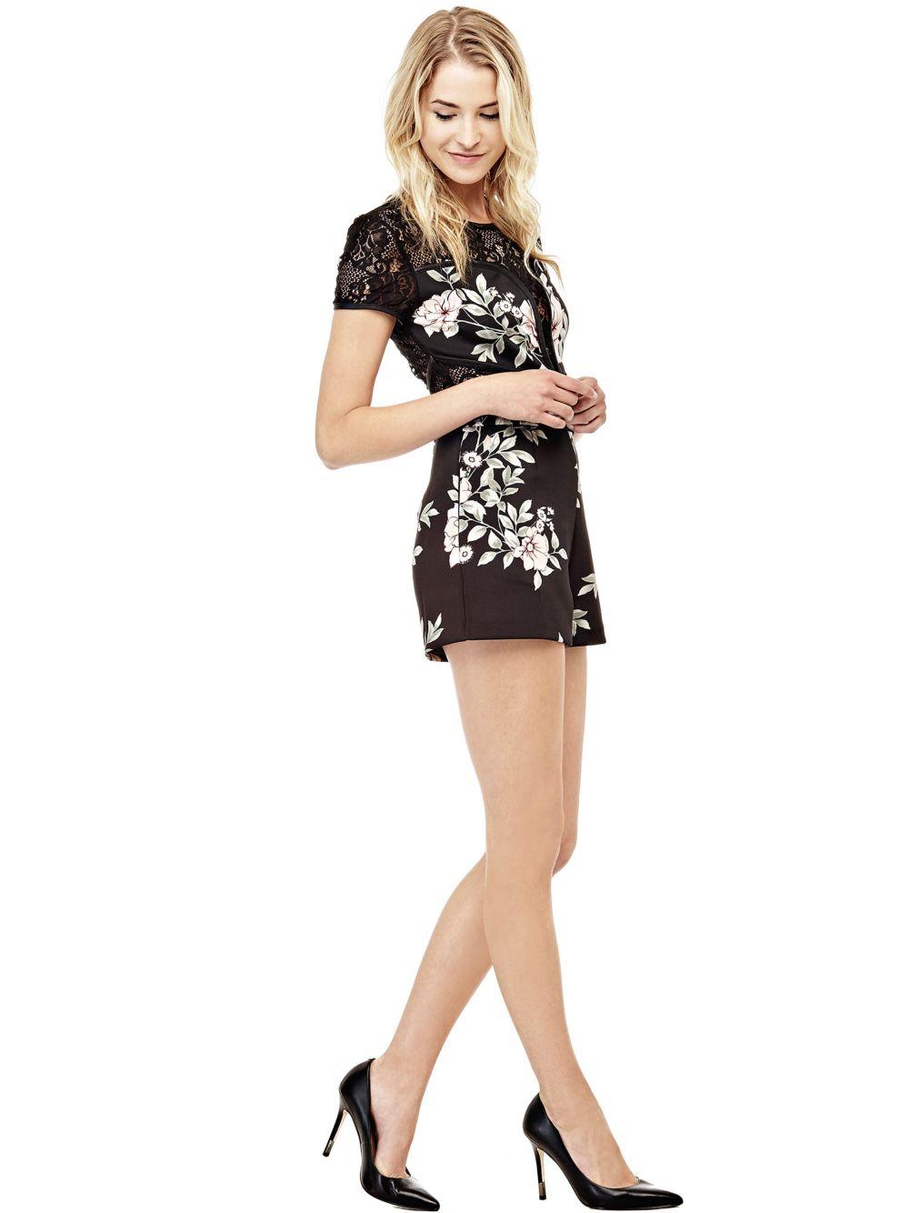 COMBISHORT FLORAL AVEC DENTELLE Guess - Combinaison Femme Guess ... c927378540e
