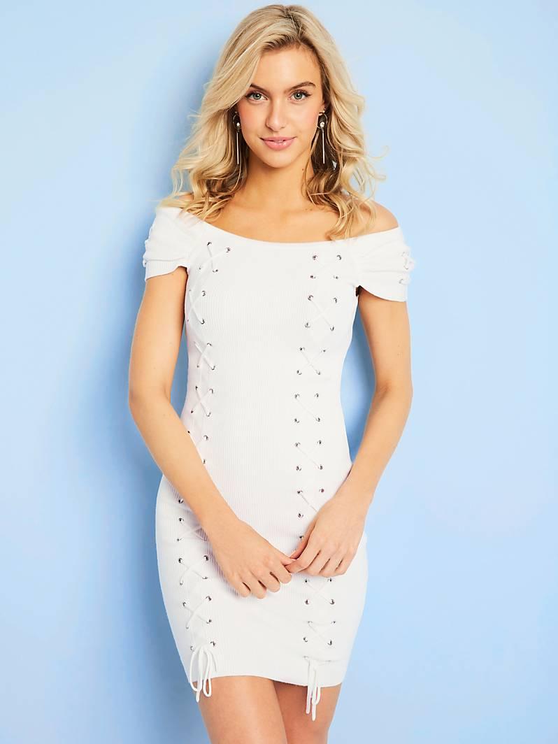 39281aaaa6f ... MÉTALLIQUES Blanc Guess - Robe Femme Guess GUESS FR ROBE APPLICATIONS  MÉTALLIQUES Blanc Guess ROBE APPLICATIONS MÉTALLIQUES Blanc Guess pas cher  prix ...