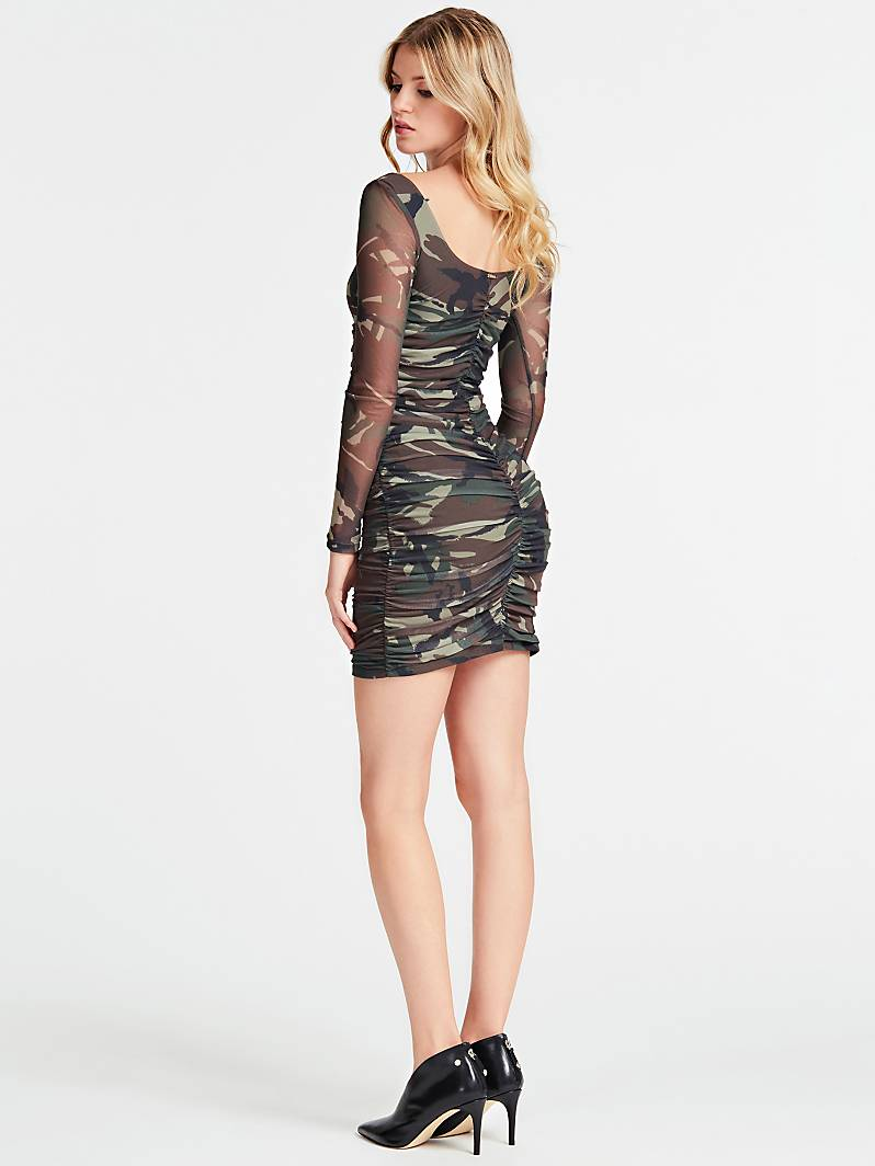 ROBE MAILLE FILET IMPRIMEE Camouflage Guess