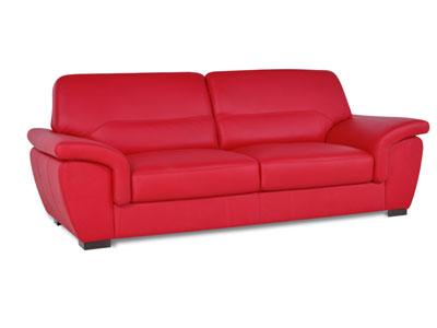 Canapé Cuir 3 Places Fixe Georges 2 Coloris Rouge Canapé Conforama