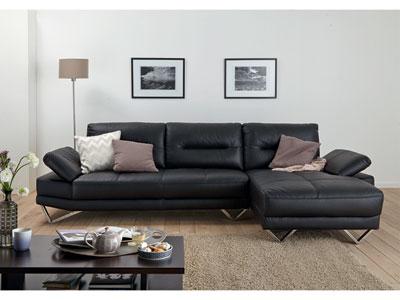 Canapé Angle Fixe Droit GABRIEL Coloris Noir Canapé Conforama - Canape cuir noir conforama
