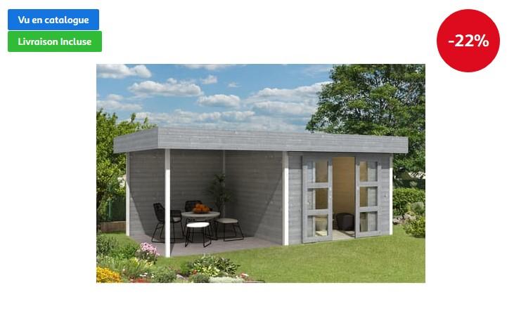 magasin en ligne 61b9d 31b8a Abri de jardin bois avec auvent CHATEL 6 16.07m² pas cher ...