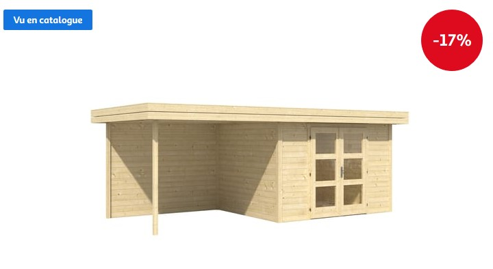 Abri de jardin bois CHATEL5 13.40m² 28mm - Auchan