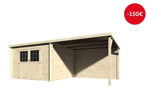 Abri de jardin bois Foxton 15.78m²  28mm - Auchan