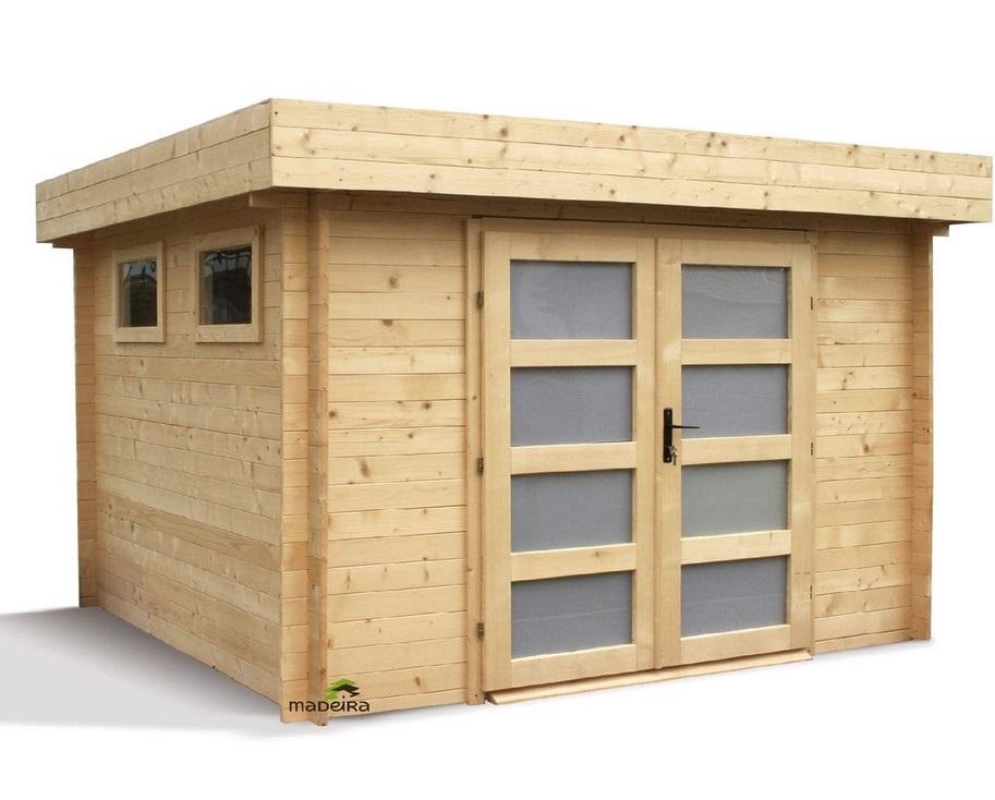 Abri jardin bois BILBAO toit plat 6.69m² 28mm - Auchan