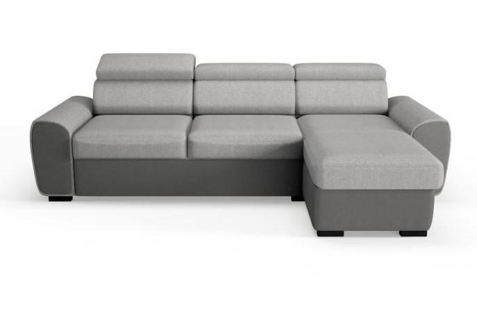 ALAN Canapé d'angle convertible 4 places + coffre Tissu anthracite et gris