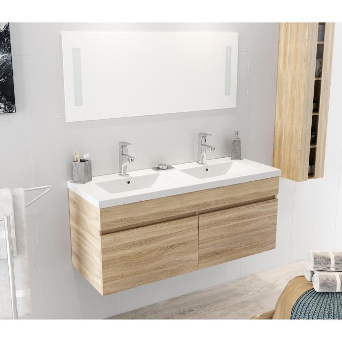 ALBAN Ensemble salle de bain double vasque avec miroir