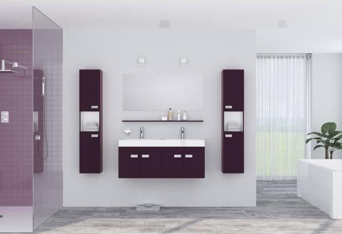 ALPOS Ensemble salle de bain double vasque avec miroir pas cher ...
