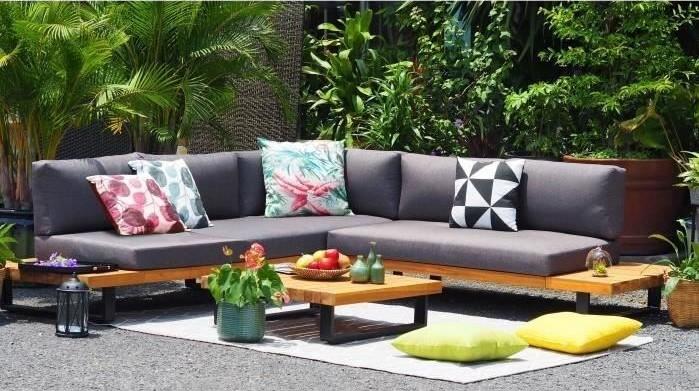 ALUXE Salon de jardin en bois d\'acacia pas cher - Salon de Jardin Cdiscount