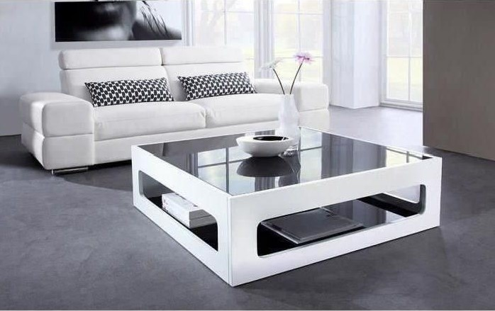 Angel Table Basse Carrée Style Contemporain Laquée Blanc Brillant