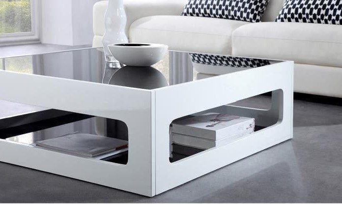 Angel Table Basse Carree Style Contemporain Laquee Blanc Brillant