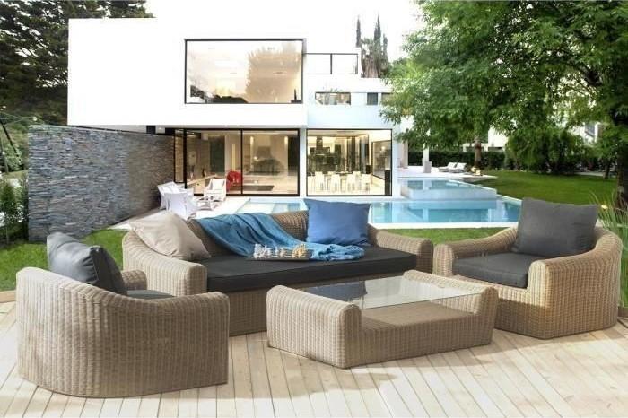 ANGELES Salon de jardin 5 places en résine tressée et aluminium ...
