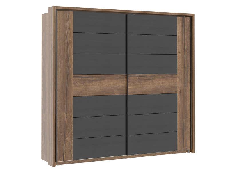 Armoire 2 portes coulissantes DOLCE COTTAGE coloris chêne noble et chêne noir - Conforama