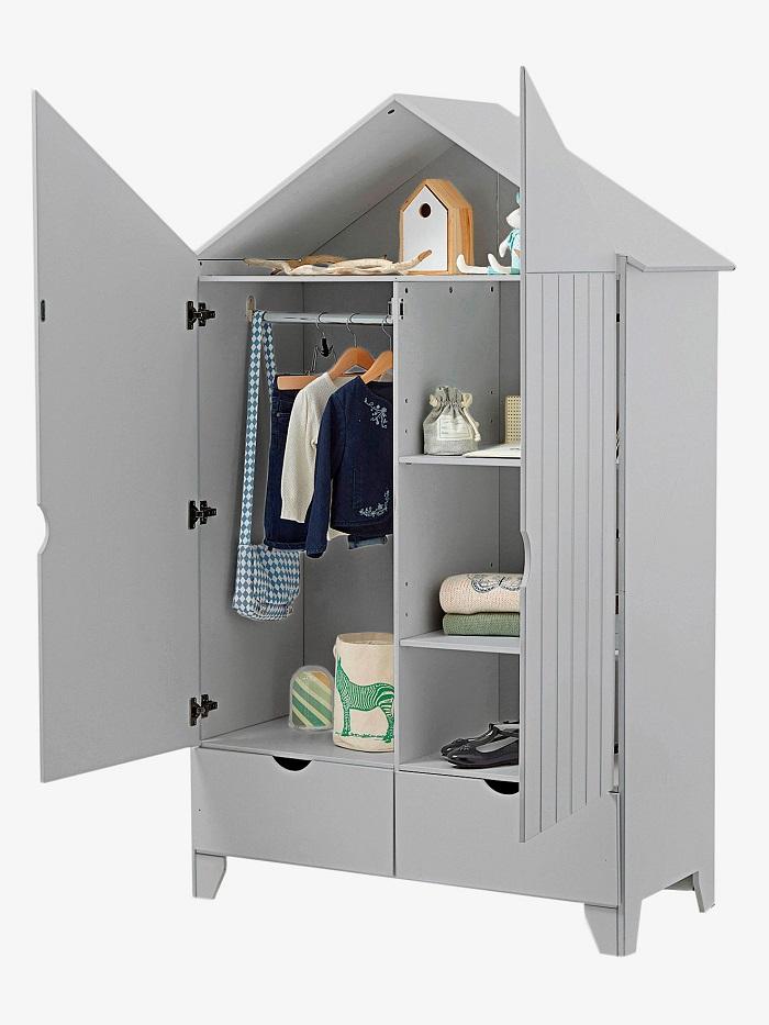 armoire 2 portes holidays xl gris pas cher armoire enfant vertbaudet. Black Bedroom Furniture Sets. Home Design Ideas