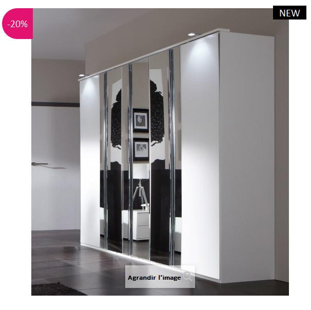 Armoire penderie design 3 miroirs Terya ATYLIA - Armoire Atylia ...