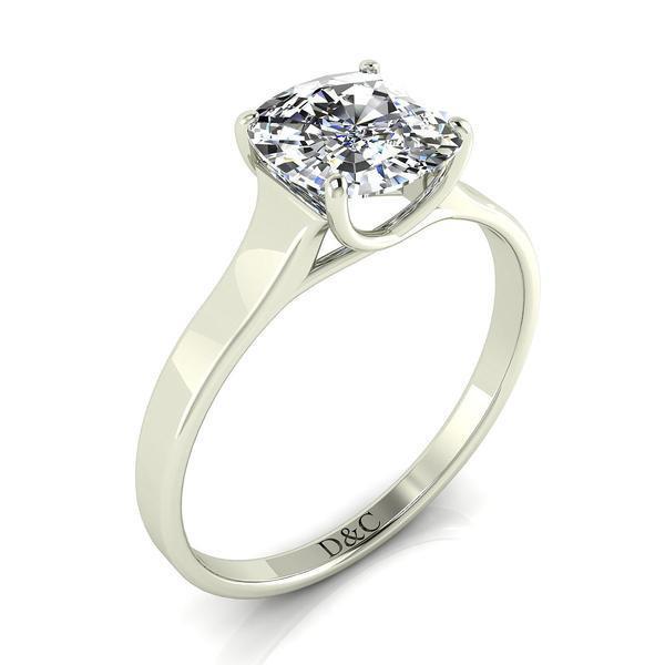 Bague de Fiançailles solitaire bague diamant Cindy-coussin 0.30 carats or blanc