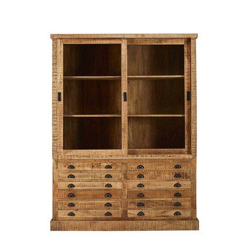 bahut indus 2 portes 6 tiroirs factory en manguier massif. Black Bedroom Furniture Sets. Home Design Ideas