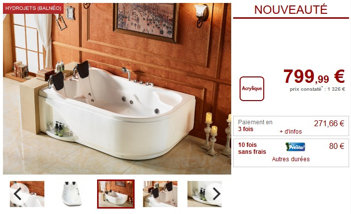 prix baignoire balneo excellent baignoire baln o massante angle haute bain tourbillon jacuzzi. Black Bedroom Furniture Sets. Home Design Ideas