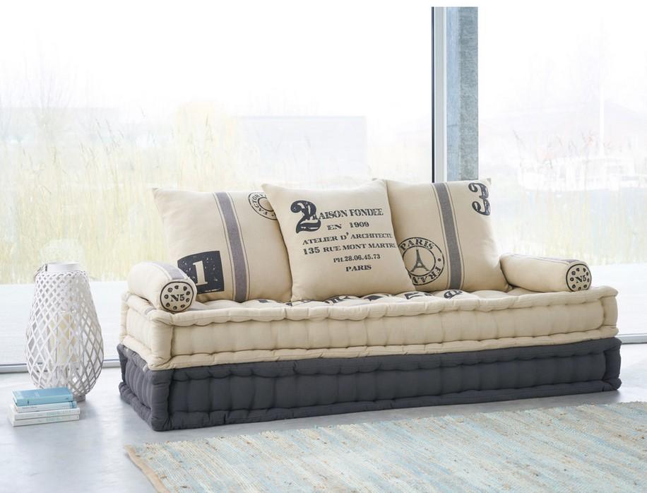 Banquette 3 places Factory en coton beige et gris - Banquette Maisons du  Monde