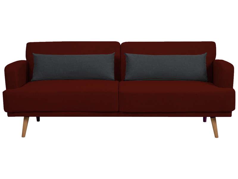 Banquette clic-clac MELBOURNE coloris gris foncé et coussins rouge - Conforama