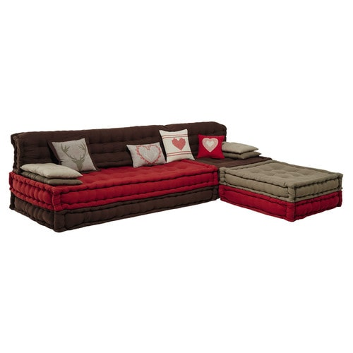 banquette d 39 angle 7 places heidi en coton rouge marron canap maisons du monde. Black Bedroom Furniture Sets. Home Design Ideas
