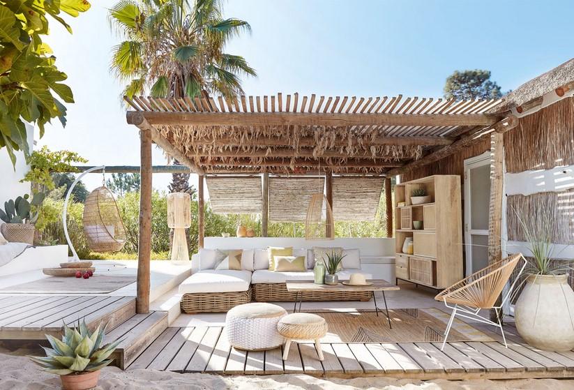 Banquette de jardin 3 places St Tropez en rotin et coussins écrus ...