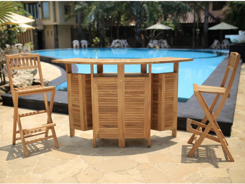 Bar de jardin et 2 chaises de bar BYBLOS Teck naturel - Vente Unique
