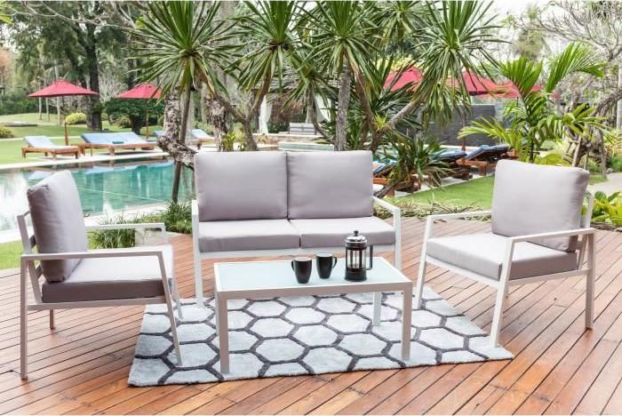 BEAU RIVAGE Salon de jardin 4 places avec banquette et fauteuil Tuvalo pas  cher - Salon de Jardin Cdiscount